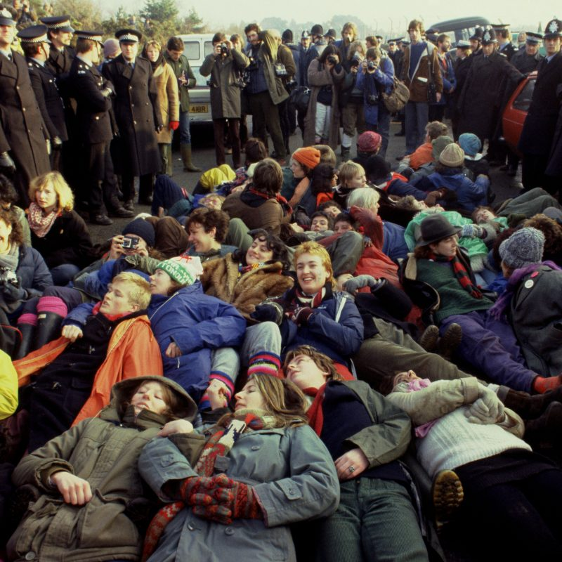 Protesters at the Greenham Common Women's Peace Camp
