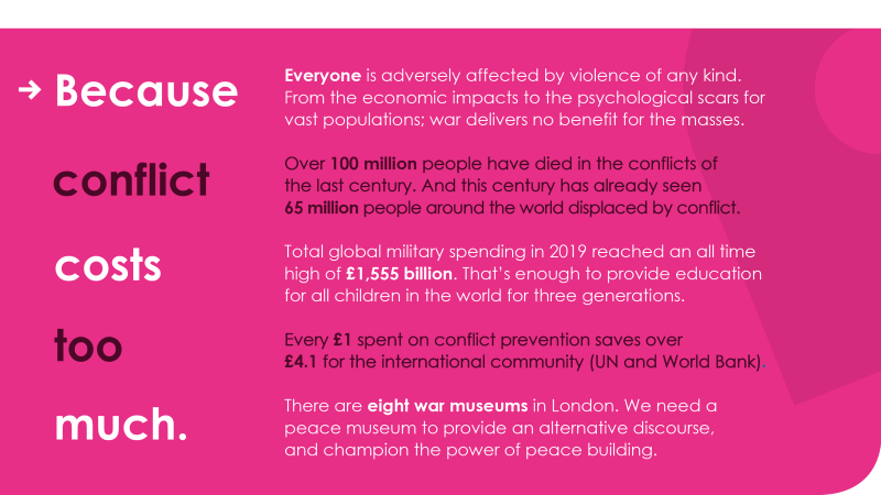 peace building, because conflict costs too much
